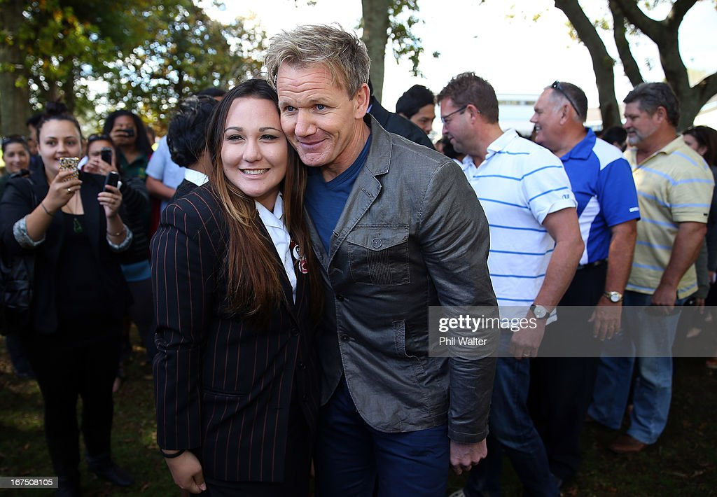 Chef <a gi-track='captionPersonalityLinkClicked' href=/galleries/search?phrase=Gordon+Ramsay&family=editorial&specificpeople=210520 ng-click='$event.stopPropagation()'>Gordon Ramsay</a> meets with students during a visit to Papakura High School on April 26, 2013 in Auckland, New Zealand. Ramsay is in Auckland to host a fundraising Gala in support of The Rising Foundation dedication to helping at-risk youth in South Auckland.