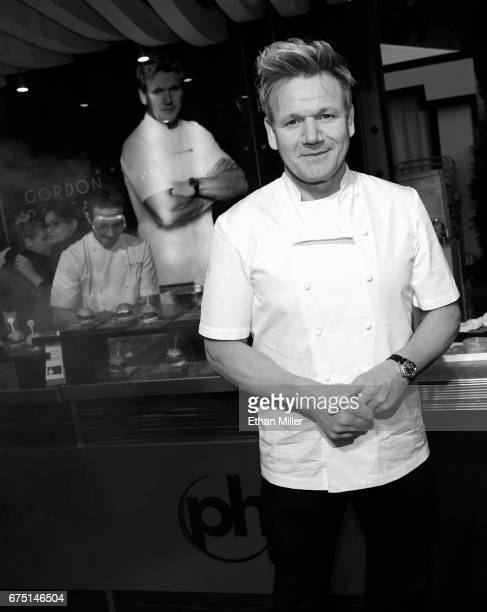 Chef Gordon Ramsay poses at the Gordon Ramsay Steak booth at the 11th annual Vegas Uncork'd by Bon Appetit Grand Tasting event presented by the Las...