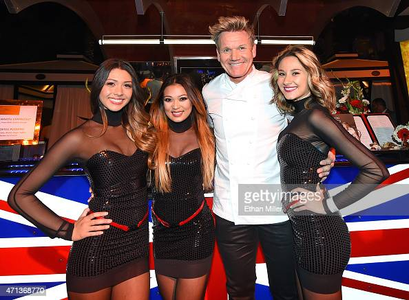 Chef Gordon Ramsay poses at the Gordon Ramsay Steak booth during Vegas Uncork'd by Bon Appetit's Grand Tasting event at Caesars Palace on April 24...