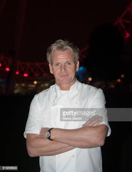 Chef Gordon Ramsay poses in front of the London Eye on October 9 2009 in London England Gordon Ramsay took the challange of cooking for guest on the...