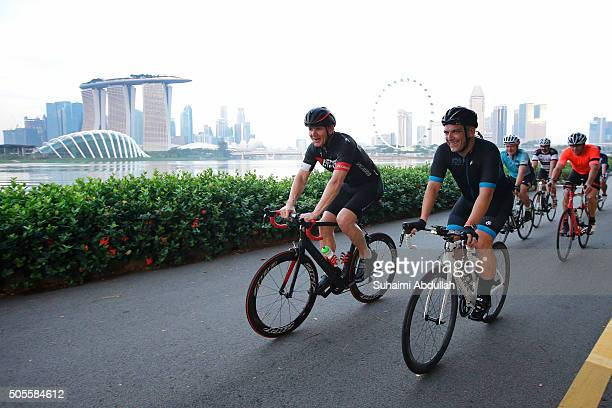 Chef Gordon Ramsay rides with Ben Elms President of Asia Pacific VodafoneGobal Enterprise and about 20 riders brought in by International Cycling...