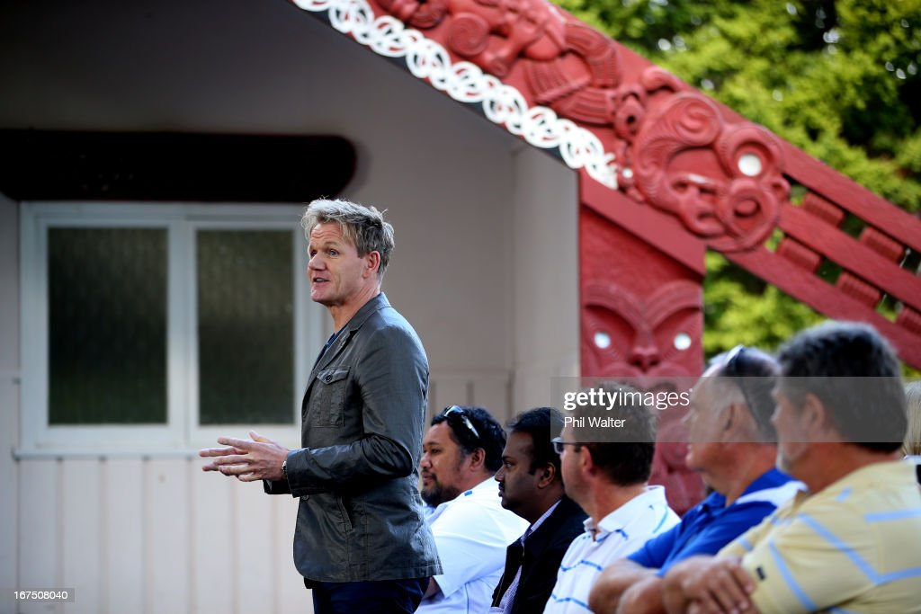 Chef <a gi-track='captionPersonalityLinkClicked' href=/galleries/search?phrase=Gordon+Ramsay&family=editorial&specificpeople=210520 ng-click='$event.stopPropagation()'>Gordon Ramsay</a> speaks before meeting with students during a visit to Papakura High School on April 26, 2013 in Auckland, New Zealand. Ramsay is in Auckland to host a fundraising Gala in support of The Rising Foundation dedication to helping at-risk youth in South Auckland.