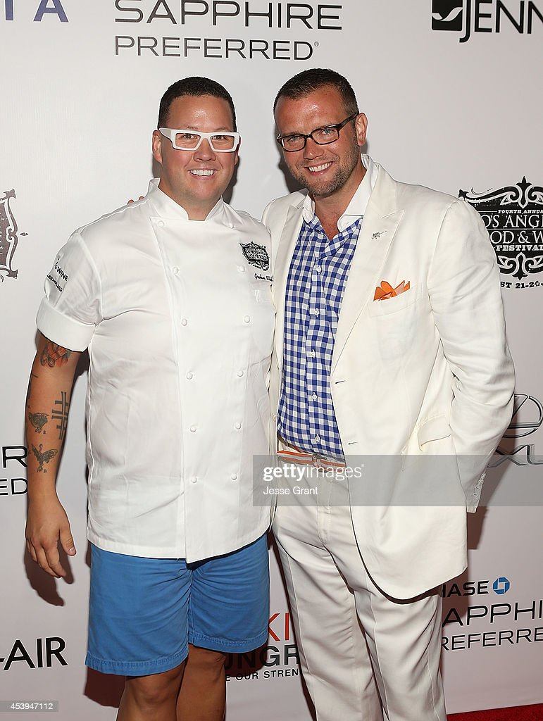 Chef Graham Elliot and Food & Wine Founder David Bernahl attend Ultimate Bites of L.A. Presented by Chase Sapphire Preferred, Hosted by Chef Graham Elliot & Fabio Viviani on August 21, 2014 in Los Angeles, California.