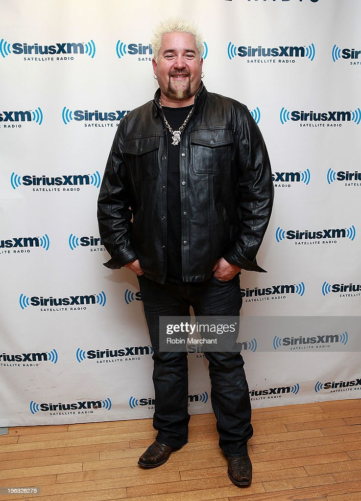 Chef <a gi-track='captionPersonalityLinkClicked' href=/galleries/search?phrase=Guy+Fieri&family=editorial&specificpeople=4593795 ng-click='$event.stopPropagation()'>Guy Fieri</a> visits the SiriusXM Studios on November 13, 2012 in New York City.
