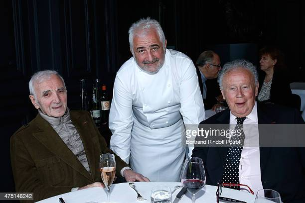 COVERAGE Chef Guy Savoy welcomes those first guests Singer Charles Aznavour and Journalist Philippe Bouvard of his new Restaurant at Monnaie de Paris...