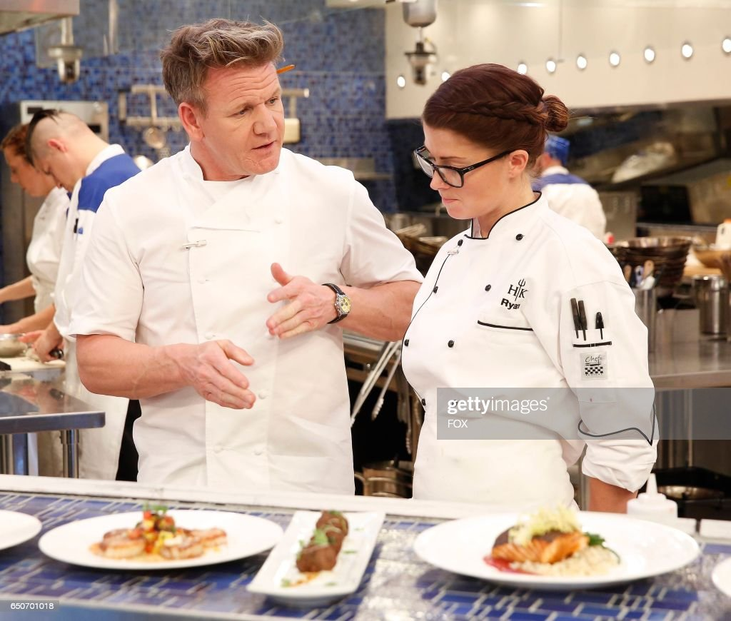 L-R: Chef / host Godon Ramsay and contestant Ryan in the season finale of HELLS KITCHEN airing Thursday, Feb. 2 (8:00-9:01 PM ET/PT) on FOX.