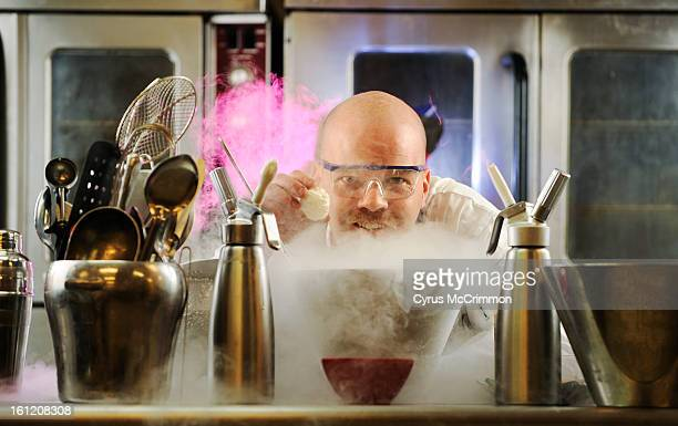 Chef Ian Kleinman owner of The Inventing Room creates some of his amazing foods with the help of liquid nitrogen at his Denver kitchen on Thursday...