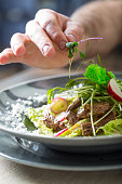 Chef in hotel or restaurant kitchen cooking, only hands. He is working on the micro herb decoration. Preparing vegetable salad with pieces of grilled chicken  meat - virgin sirloin.Chef in hotel or re