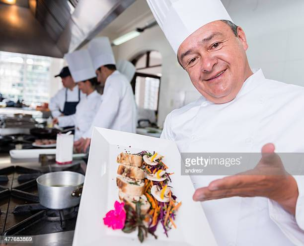 Chef introducing a plate