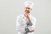 Chef is thinking what to cook.