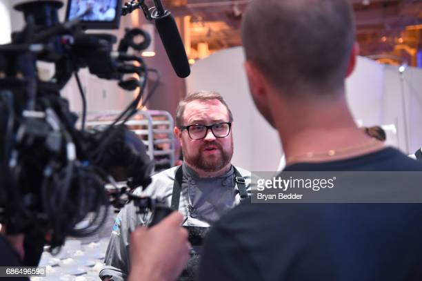 Chef Jamie Bissonnette gives an interview during TNT's Will Dinner By Toro's Chef Jamie Bissonette presented by TNT'S Supper Club at West Edge on May...
