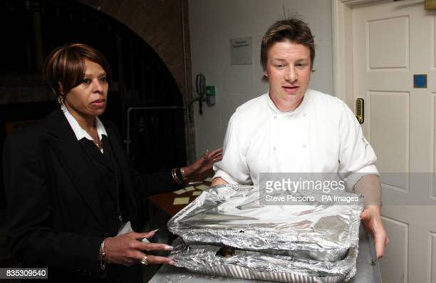 Chef Jamie Oliver is shown to the kitchen as Prime Minister Gordon Brown host a G20 dinner for all of the top leaders in the world at Downing Street