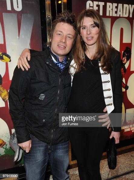 Chef Jamie Oliver with his wife Jools attends the 'Kick Ass' European film premiere at the Empire Leicester Square on March 22 2010 in London England