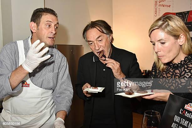 Chef Jocelyn Chabauty actor Richard Berry and TV presenter Louise Ekland attend the 'Charal' 30th Anniversary Pop Up Store Opening Party at Rue des...