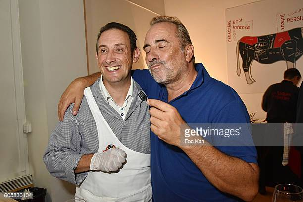 Chef Jocelyn Chabauty and ctor Antoine Dulery attend the 'Charal' 30th Anniversary Pop Up Store Opening Party at Rue des Halles on September 14 2016...