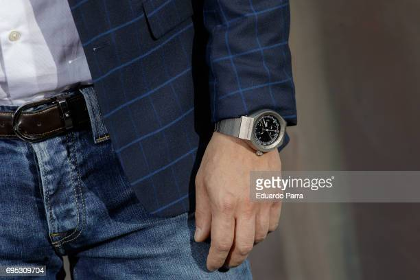 Chef Jordi Cruz watch detail attends the 'Icon Design magazine' photocall at Lazaro Galdiano museum on June 12 2017 in Madrid Spain