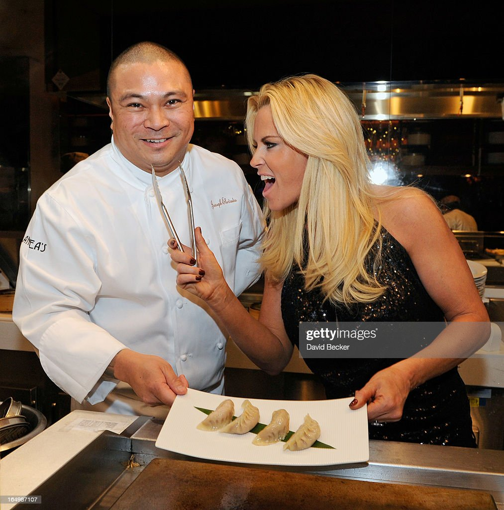 Chef Joseph Elevado (L) and actress <a gi-track='captionPersonalityLinkClicked' href=/galleries/search?phrase=Jenny+McCarthy&family=editorial&specificpeople=202900 ng-click='$event.stopPropagation()'>Jenny McCarthy</a> appear at Andrea's at Encore Las Vegas on March 29, 2013 in Las Vegas, Nevada.
