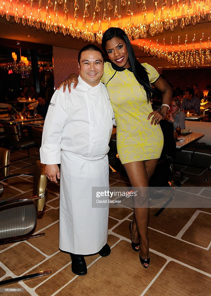 Chef Joseph Elevado (L) and television personality Omarosa Manigault appear at Andrea's at Encore Las Vegas to celebrate the season premiere of 'All-Star Celebrity Apprentice' on March 2, 2013 in Las Vegas, Nevada.