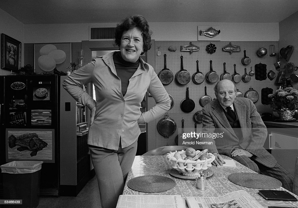 Chef Julia Child and husband Paul Child pose in the kitchen of their house, La Pitchoune, during a photo shoot for McCall's Magazine on June 29, 1970 in Provence, the South of France.