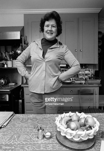 Chef Julia Child poses in the kitchen of her house La Pitchoune during a photo shoot for McCall's Magazine on June 29 1970 in Provence the South of...