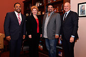 Chef Kevin Sbraga US Senator Debbie Stabenow Chef Victor Albisu and Food Policy Action Education Fund cofounder Tom Colicchio meet on Capitol Hill...