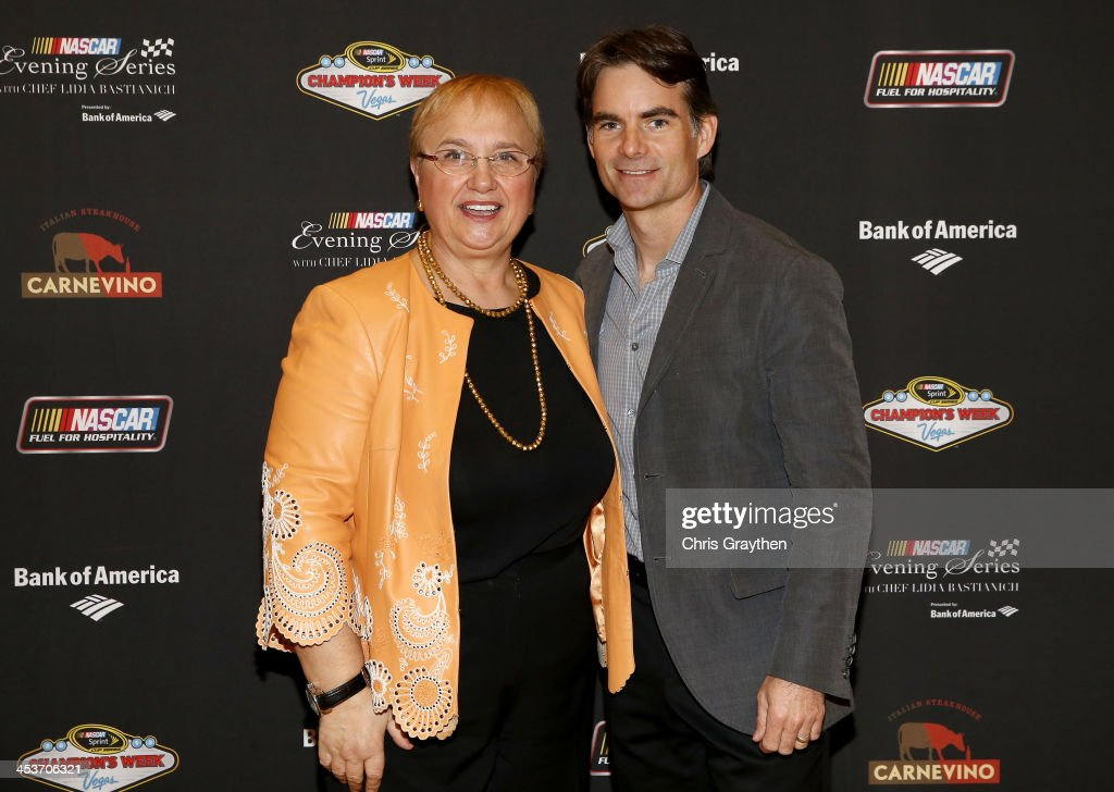 Chef Lidia Bastianich and NASCAR Sprint Cup Series driver Jeff Gordon pose for a picture at the NASCAR Evening Series Presented by Bank of America at Carnevino at The Palazzo Las Vegas on December 4, 2013 in Las Vegas, Nevada.