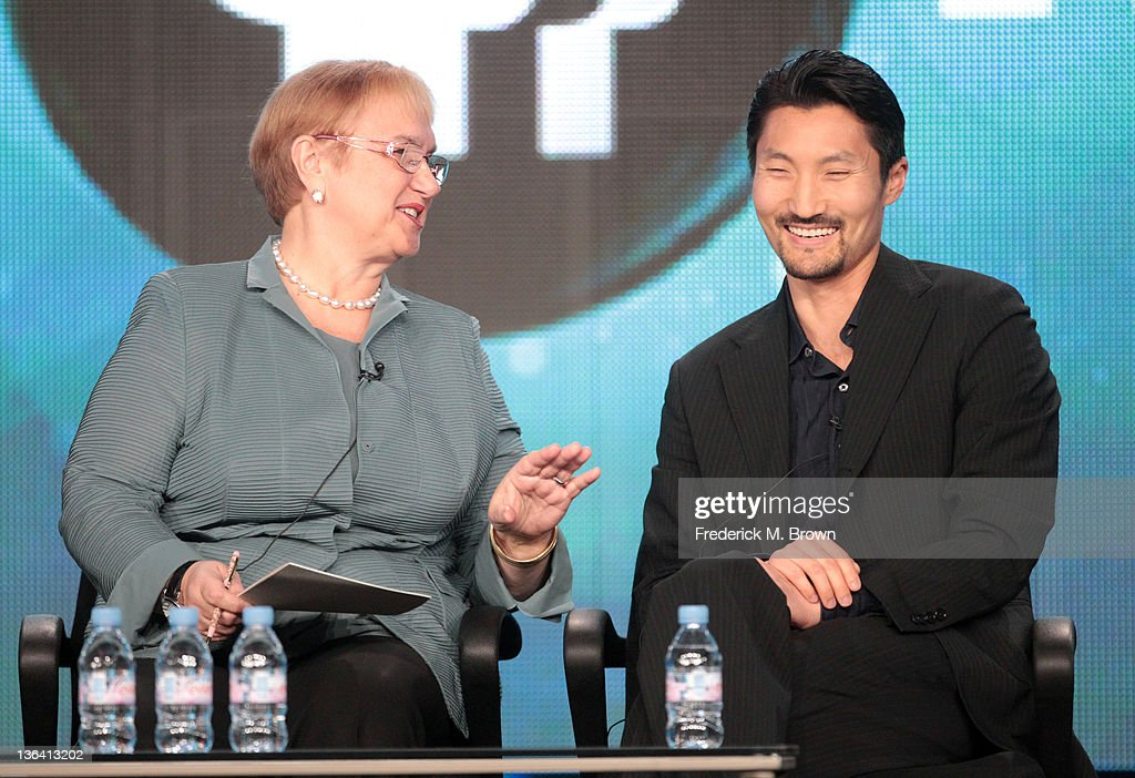 Chef Lidia Bastianich (L) and Yul Kwon speak during the 'Lidia Celebrates America Weddings: Something Borrowed, Something New' panel during the PBS portion of the 2012 Winter TCA Tour held at The Langham Huntington Hotel and Spa on January 4, 2012 in Pasadena, California.