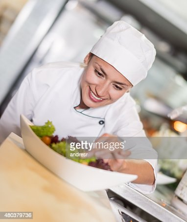 Chef making a salad at a restaurant