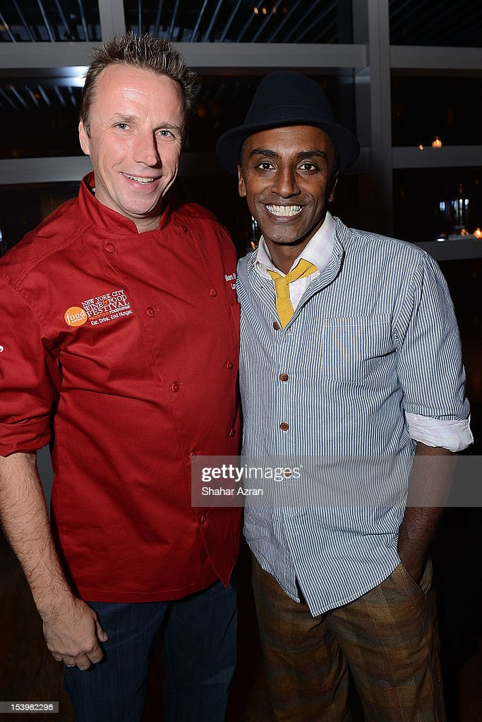 Chef Marc Murphy and Chef <a gi-track='captionPersonalityLinkClicked' href=/galleries/search?phrase=Marcus+Samuelsson&family=editorial&specificpeople=2143367 ng-click='$event.stopPropagation()'>Marcus Samuelsson</a> attends the 'Chopped' Event>> at Landmarc on October 11, 2012 in New York City.