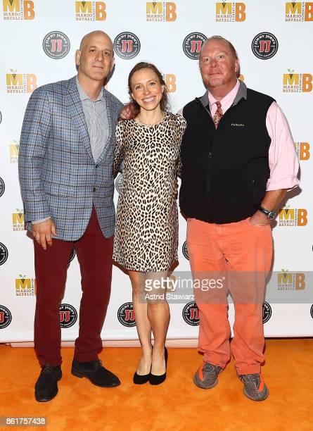 Chef Marc Vetri Megan Vetri and chef Mario Batali attend 6th Annual Mario Batali Foundation Honors dinner at Del Posto on October 15 2017 in New York...