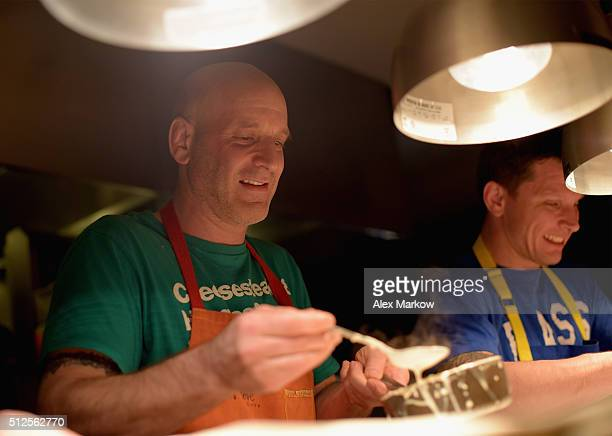 Chef Marc Vetri prepares food at a Dinner Hosted By Marc Vetri And Giovanni Rocchio Part of the Taste Fort Lauderdale Seriesduring 2016 Food Network...