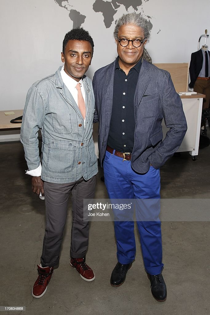 Chef Marcus Samuelsson (L) and film critic Elvis Mitchell attend the Apolis Summer Speaking Series Kickoff Event With Chef Marcus Samuelsson And Rohan Anderson at Apolis Common Gallery on June 18, 2013 in Los Angeles, California.