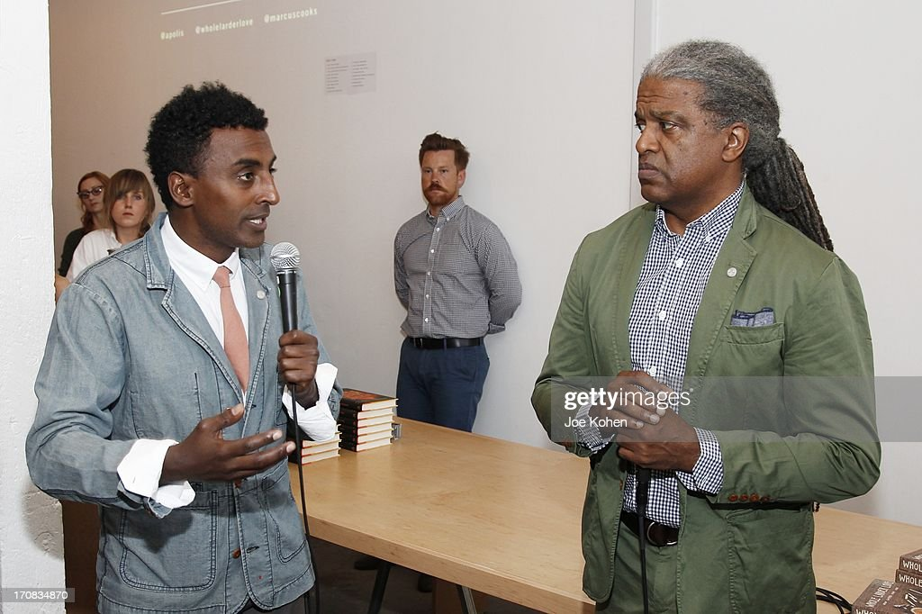 Chef <a gi-track='captionPersonalityLinkClicked' href=/galleries/search?phrase=Marcus+Samuelsson&family=editorial&specificpeople=2143367 ng-click='$event.stopPropagation()'>Marcus Samuelsson</a> (L) and film critic <a gi-track='captionPersonalityLinkClicked' href=/galleries/search?phrase=Elvis+Mitchell&family=editorial&specificpeople=567104 ng-click='$event.stopPropagation()'>Elvis Mitchell</a> attend the Apolis Summer Speaking Series Kickoff Event With Chef <a gi-track='captionPersonalityLinkClicked' href=/galleries/search?phrase=Marcus+Samuelsson&family=editorial&specificpeople=2143367 ng-click='$event.stopPropagation()'>Marcus Samuelsson</a> And Rohan Anderson at Apolis Common Gallery on June 18, 2013 in Los Angeles, California.