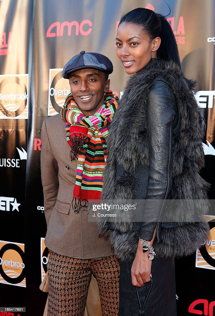 Chef Marcus Samuelsson and Gate Maya Haile attend the 'Free Angela and All Political Prisoners' New York Premiere at The Schomburg Center for Research in Black Culture on April 3, 2013 in New York City.