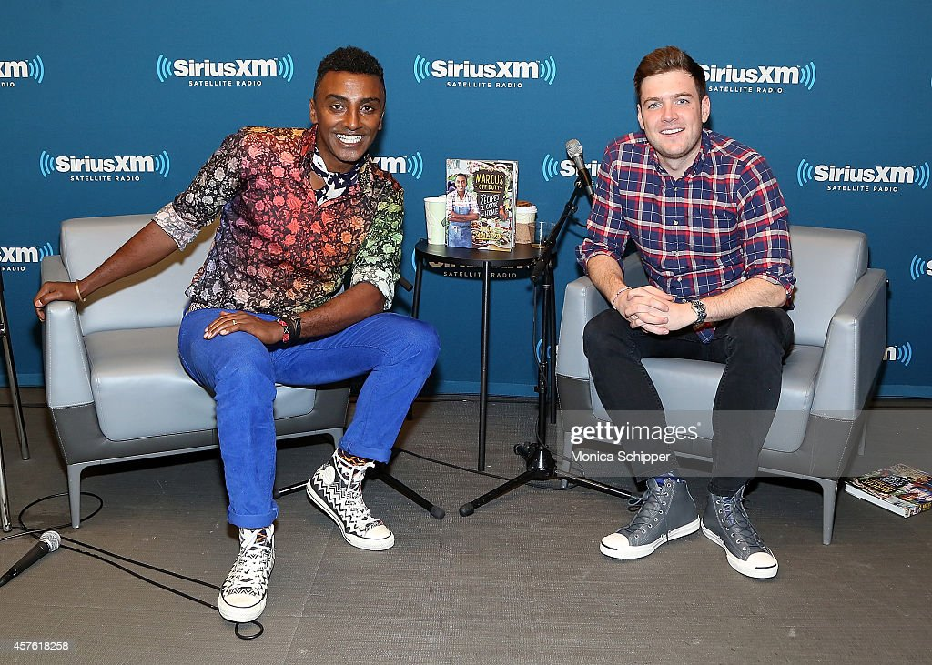 Chef Marcus Samuelsson (L) and Max Silvestri visit the SiriusXM Studios on October 21, 2014 in New York City.