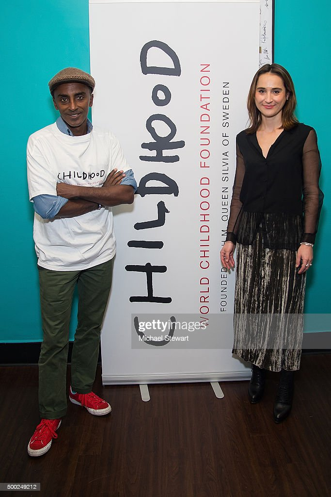 Chef Marcus Samuelsson (L) and Natalia Brzezinski attend the ThankYou By Childhood USA Advocacy Campaign, #EyesWideOpen Initiative at the Miller Theater in West Harlem 2015 on December 6, 2015 in New York City.