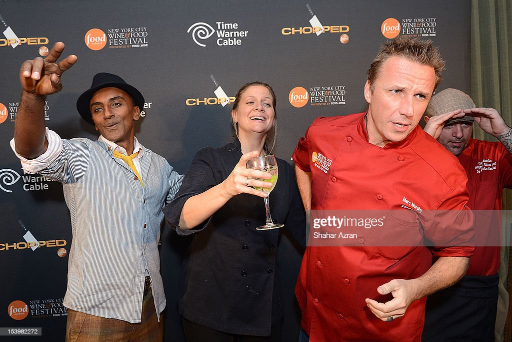 Chef <a gi-track='captionPersonalityLinkClicked' href=/galleries/search?phrase=Marcus+Samuelsson&family=editorial&specificpeople=2143367 ng-click='$event.stopPropagation()'>Marcus Samuelsson</a>, Chef Amanda Freitag and Chef Marc Murphy attend the 'Chopped' Event at Landmarc on October 11, 2012 in New York City.
