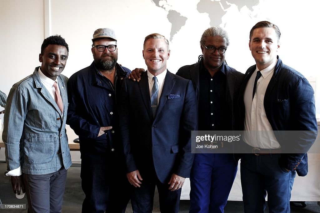 Chef <a gi-track='captionPersonalityLinkClicked' href=/galleries/search?phrase=Marcus+Samuelsson&family=editorial&specificpeople=2143367 ng-click='$event.stopPropagation()'>Marcus Samuelsson</a>, food blogger Rohan Anderson Raan Parton, film critic <a gi-track='captionPersonalityLinkClicked' href=/galleries/search?phrase=Elvis+Mitchell&family=editorial&specificpeople=567104 ng-click='$event.stopPropagation()'>Elvis Mitchell</a> and Shea Parton attend the Apolis Summer Speaking Series Kickoff Event With Chef <a gi-track='captionPersonalityLinkClicked' href=/galleries/search?phrase=Marcus+Samuelsson&family=editorial&specificpeople=2143367 ng-click='$event.stopPropagation()'>Marcus Samuelsson</a> And Rohan Anderson at Apolis Common Gallery on June 18, 2013 in Los Angeles, California.