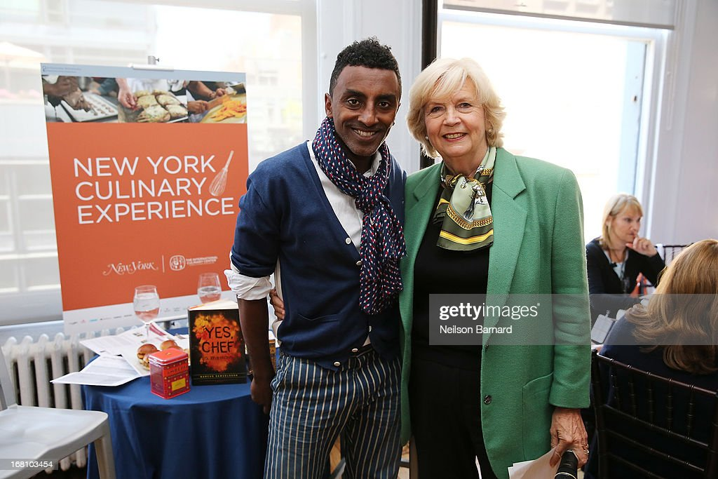 Chef <a gi-track='captionPersonalityLinkClicked' href=/galleries/search?phrase=Marcus+Samuelsson&family=editorial&specificpeople=2143367 ng-click='$event.stopPropagation()'>Marcus Samuelsson</a> of Red Rooster Harlem and New York Magazine Culinary Editor Gillian Duffy attend day 2 of the New York Culinary Experience 2013 on May 5, 2013 in New York City.