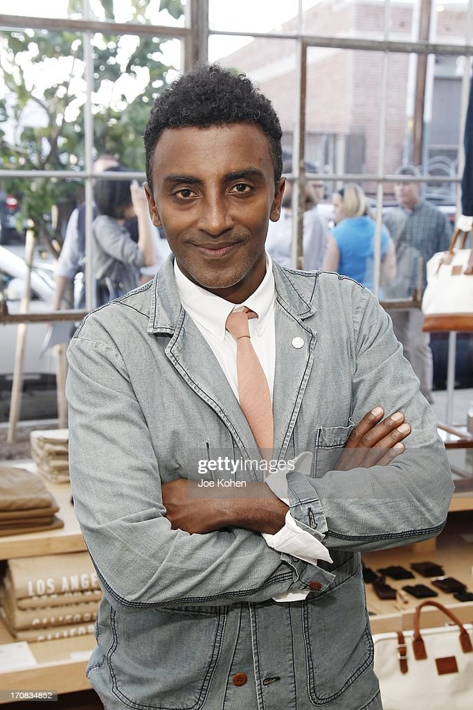 Chef Marcus Samuelsson poses for a photo at Apolis Summer Speaking Series Kickoff Event With Chef Marcus Samuelsson And Rohan Anderson at Apolis Common Gallery on June 18, 2013 in Los Angeles, California.