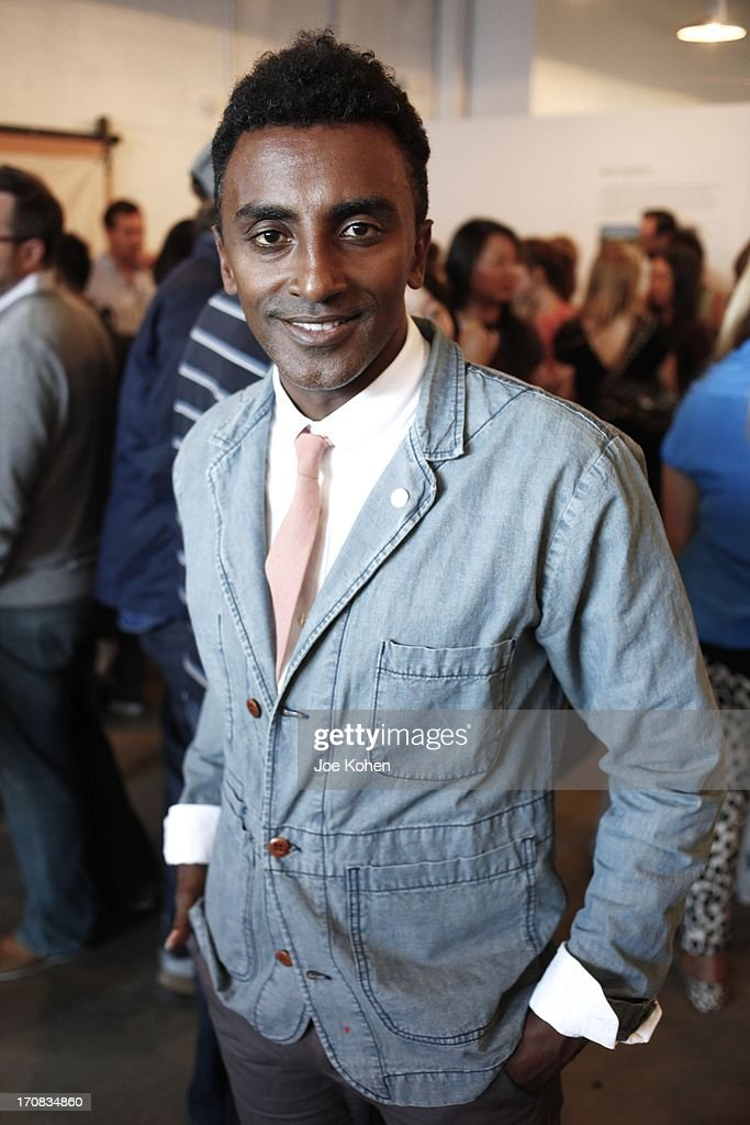 Chef <a gi-track='captionPersonalityLinkClicked' href=/galleries/search?phrase=Marcus+Samuelsson&family=editorial&specificpeople=2143367 ng-click='$event.stopPropagation()'>Marcus Samuelsson</a> poses for a photo at Apolis Summer Speaking Series Kickoff Event With Chef <a gi-track='captionPersonalityLinkClicked' href=/galleries/search?phrase=Marcus+Samuelsson&family=editorial&specificpeople=2143367 ng-click='$event.stopPropagation()'>Marcus Samuelsson</a> And Rohan Anderson at Apolis Common Gallery on June 18, 2013 in Los Angeles, California.