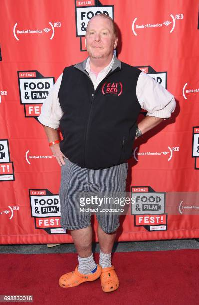 Chef Mario Batali arrives at EAT Food Film Fest at Bryant Park on June 20 2017 in New York City Photo by Michael Loccisano/Getty Images for