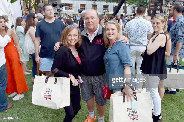 Chef Mario Batali poses with guests at EAT Food Film Fest at Bryant Park on June 20 2017 in New York City Photo by Nicholas Hunt/Getty Images for