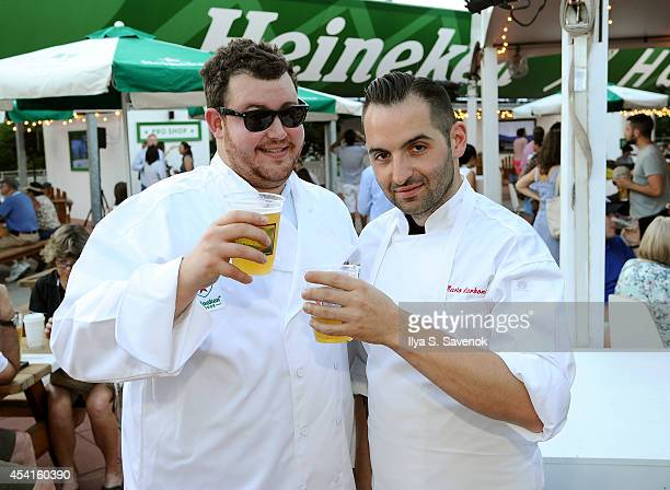 Chef Mario Carbone and Jeff Zalaznick of Parm Restaurant and Heineken kick off the 2014 US Open at Heineken House on August 25 2014 in New York City