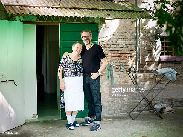 Chef Massimo Bottura is photographed with Lidia Cristoni who has supplied the pasta for 28 years for the Observer on July 4 2014 in Modena Italy