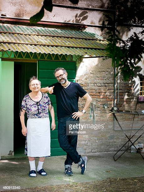 Chef Massimo Bottura is photographed with Lidia Cristoni who has supplied the pasta for 28 years for the Observer on August 19 2014 in Modena Italy