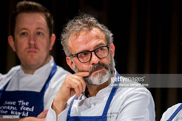 Chef Massimo Bottura reacts during the conference 'Save the Oceans Feed the World' at Basque Culinary Center on March 17 2015 in San Sebastian Spain