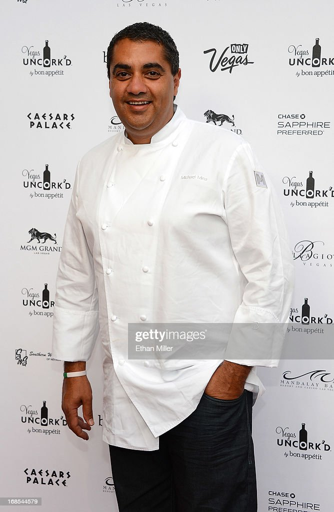 Chef <a gi-track='captionPersonalityLinkClicked' href=/galleries/search?phrase=Michael+Mina&family=editorial&specificpeople=4629273 ng-click='$event.stopPropagation()'>Michael Mina</a> arrives at Vegas Uncork'd by Bon Appetit's Grand Tasting event at Caesars Palace on May 10, 2013 in Las Vegas, Nevada.
