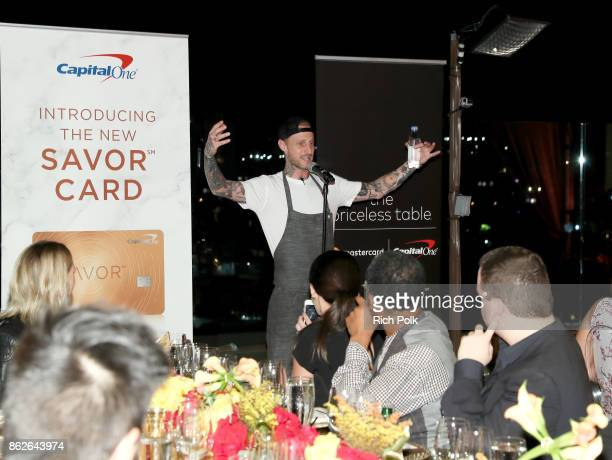 Chef Michael Voltaggio speaks to guests at the Capital One Celebration of the launch of the new SavorSM during A Priceless Table presented by...