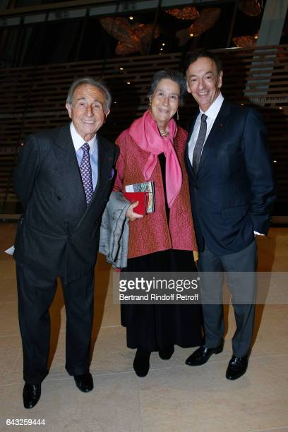 Chef Michel Guerard his wife and Director of sponsorship LVMH JeanPaul Claverie attend the Private View of 'Icones de l'Art Moderne la Collection...
